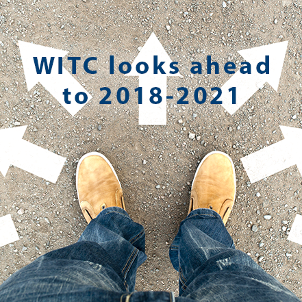 WITC looks ahead to 2018-2021. Image of feet with arrows pointing out in different directions
