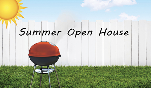 Summer open house with a grill in a yard on a sunny day