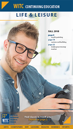 cover of 2018 life and leisure catalog: a young man with glasses using a camera