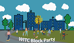WITC Block Party with picture of people hanging out in a park