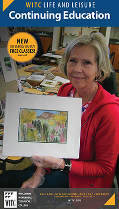 cover of WITC CE life and leisure catalog featuring a woman holding a painting