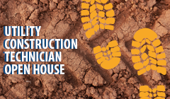 Utility Construction Technician Open House image with muddy tracks and boot prints