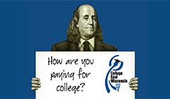 "Benjamin Franklin holding sign that says ""How are you paying for college?"""