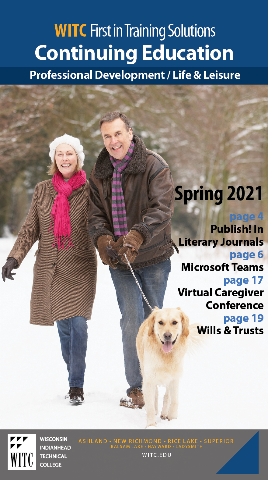 Spring 2021 Professional Catalog Cover - man and woman walking dog in snow
