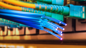 Close up of fiber optic cables