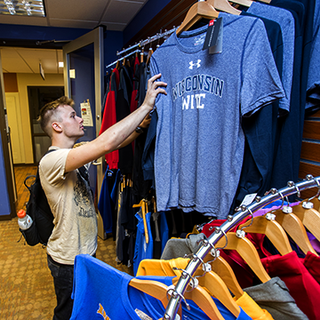 Student shopping in the WITC bookstore