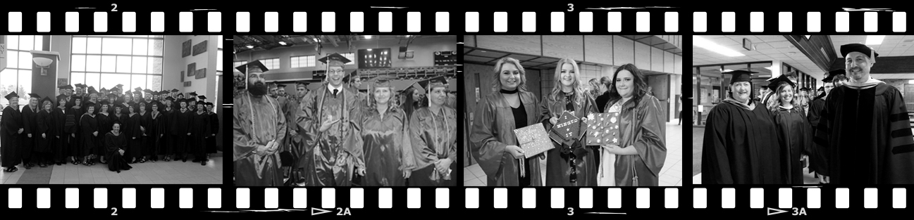 A negative of images from WITC commencement ceremonies