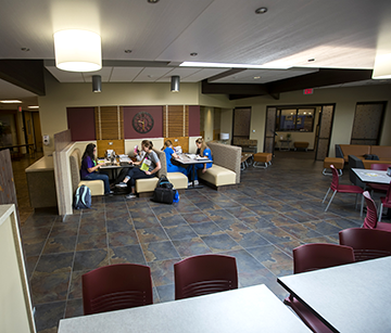 A view of students studying in a general hang out area