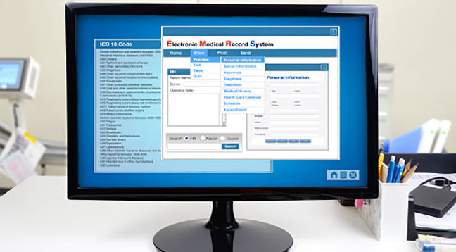 An electronic medical records system on a computer screen