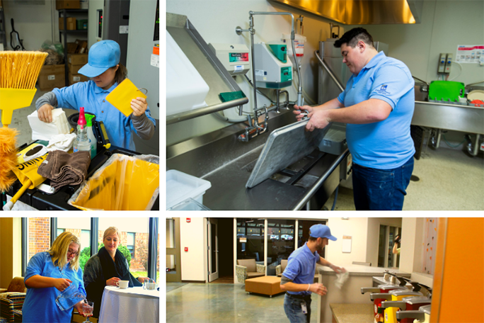 A collage of hospitality foundation students working in various settings including environmental services, dishwashing, serving