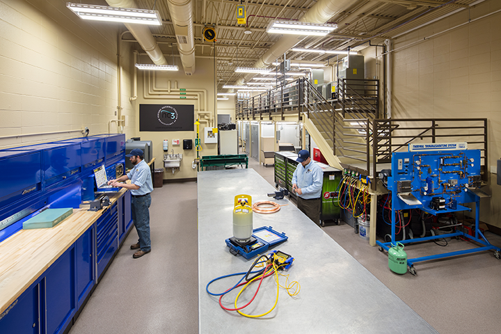 Students in the HVAC state-of-the-art facilities
