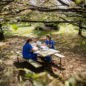 Two students wearing their nursing uniforms, studying at a picnic table under a tree