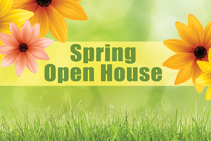 Spring Open House banner with flowers