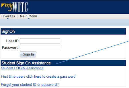 Image of Student Login Screen