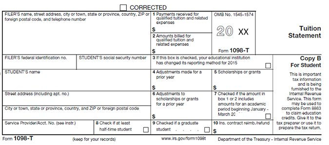 Image of Tuition Statement Copy B for Student - Form 1098-T