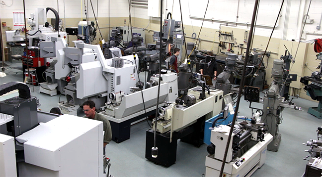 Overhead view of machine tool lab
