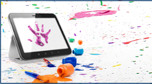 Paint splattered everywhere and a hand print on a computer screen