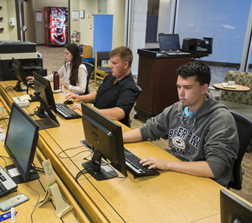 Student studying in the Educational Technology Center