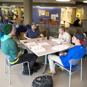 Group of students studying at a table