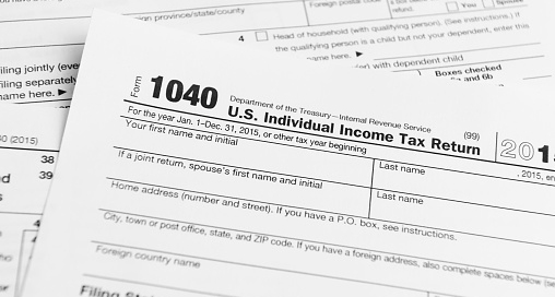 A 1040 Income Tax Return document